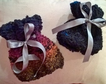 Knitted Boot Cuffs with ribbon tie