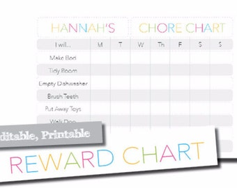 Editable Chore Chart & Responsibility chart - Grey and Rainbow Modern Design - Reward Chart For Kids