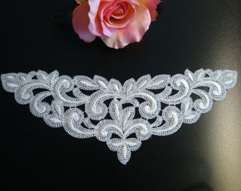 Swiss embroidery: lace applique ivory
