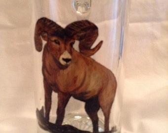 mug with Ram sheep painted on beer mug
