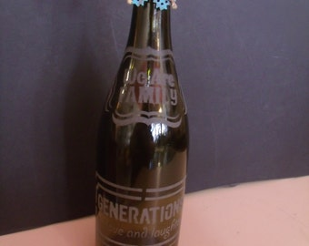 Hand crafted Etched Wine Bottle for decoration, (# 674/34)