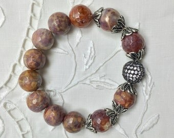 Faceted Autumn Jasper Bead Bracelet