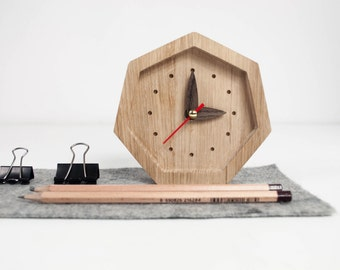 Small wooden desk clock - Unique oak wood clock - Diamond shape table clock - Natural wood table clock - Exclusive business gift with logo