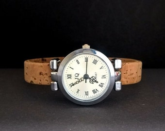 watch,cork watch,corkwatch,braclet watch for women,bracelet,natur cork,christmas,turquiose