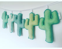 CACTUS fabric banner. Bespoke bedroom or nursery wall hanging cacti sign.  Fabric cactus bunting. You choose colours.