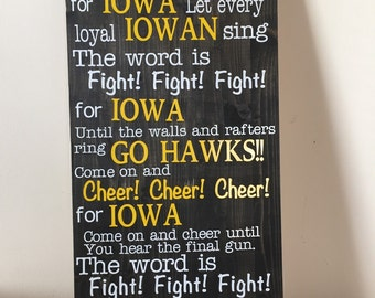 Iowa Hawkeyes Fight Song Sign