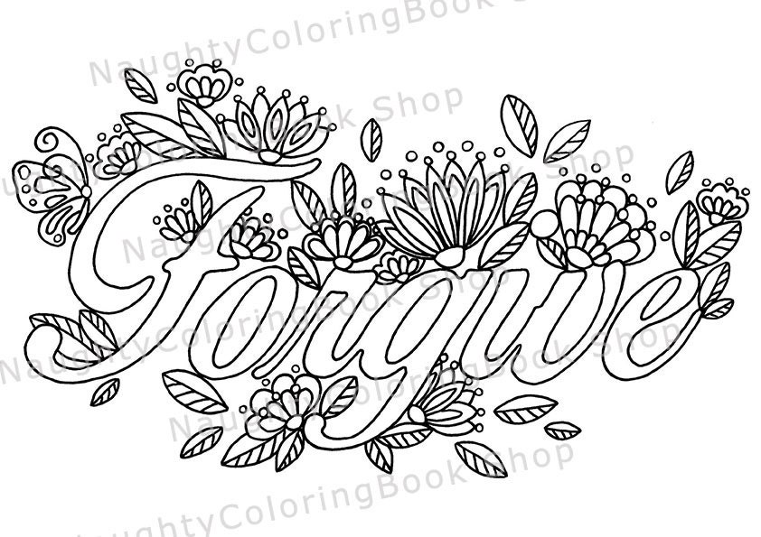 Forgive Printable Gift Coloring PageAdult coloring pages