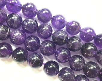 Natural Amethyst Smooth Round Loose Beads. Size 4/6/8/10/12mm 15.5'' Long per Strand.R-S-AME-0088