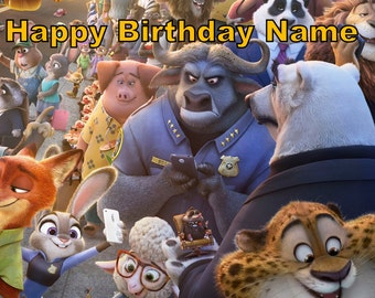 Zootopia Edible Image Cake Topper Personalized Birthday 1/4 Sheet