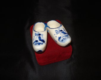 REDUCED Pair of delftware china clogs