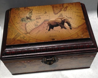 Old World Map Vintage Wood Treasure Box