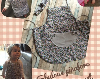 Pinafore and matching headwrap