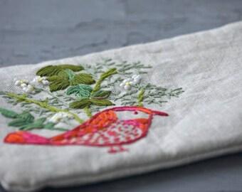 Hand embroidered bird zipper pouch, Bird pencil case, Embroidered bird gadget case, Embroidered bird coin purse, hand made Bird makeup bag,