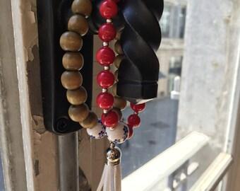 Bamboo Red Tassel Beaded Bracelet