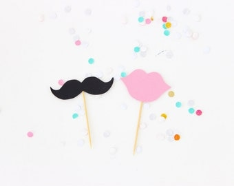 Gender Reveal Cupcake Topper Set // Mustache  // Lips // Cupcake Topper // Baby Reveal // Cupcake Toppers // Set of 12 Toppers