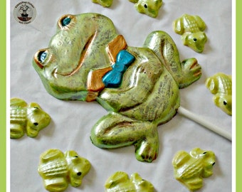 Frog Chocolate Lollipop/Chocolate Frog/Edible Frog/Frog Lover/Frog Gift/Boys/Girls/Birthday Gift/Children/Son/Daughter/Friend/Kids/Fun Frog