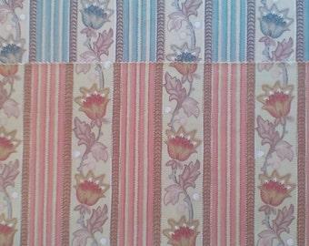 2 Vintage Cotton Jacobean Strip Fabric Cloth Material Samples