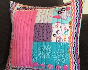 """12"""" x 12"""" Whimsical Pink Owl Quilted Pillow Cover"""
