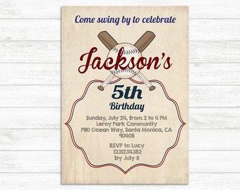 Vintage Baseball Birthday Invitation, First birthday Baseball Invitation, Baseball birthday invite, printable baseball baby shower invite