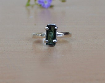 Cushion Cut Green Tourmaline Ring, Solid 925 Sterling Silver Ring, Bezel Ring,  Tourmaline Birthstone Ring Size 6 ,  Artisan Gift Jewelry