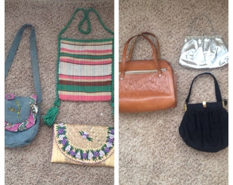 Lot of 6 vintage 60's 70's purses / handbags