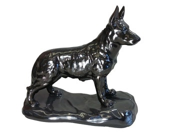 Glazed German Shepherd Figurine/Ceramic Cremation Urn.