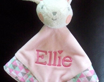 Personalised Bunny Cuddle Blanket Rattle /  Security Blankie Comforter