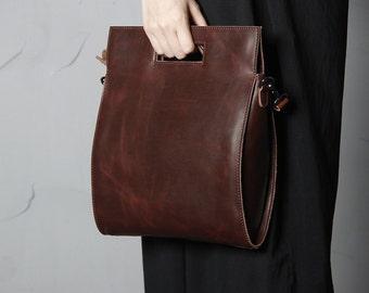 Handmade Full Grain Leather Women's Satchel Shoullder Bag Handbag