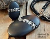 Minimalist jewelry set Polymer clay jewelry set Jewelry for woman Stone jewelry set Stone pendant Stone ring Black pendant Black jewelry set