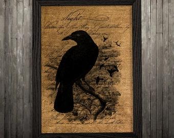 Crow poster Raven print Bird print Burlap decor BLP223