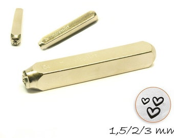 3 PCs design stamp set heart hallmark of 1,5 - 3 mm