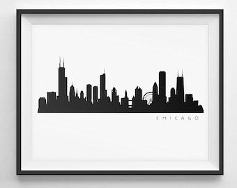 Chicago Skyline Silhouette  -  Printable Skyline  -  PDF, png, SVG, eps, JPG.  -  Last Minute Gift