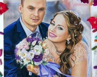 Custom couple portrait Custom couple Custom portrait of couple Wedding gift Custom wedding portrait Anniversary Gift Pastel portrait