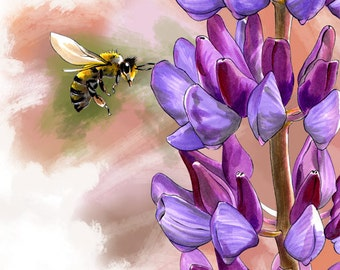 Bee with Purple Lilacs