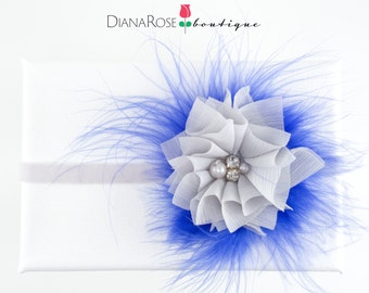 Gray & blue rhinestone headband with Marabou feathers. Special Occasion headbands. Photo Prop. Fancy headbands for kids.