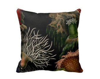 """Black Sea Anemone 16 or 20"""" Pillow Cover, Beachy Sea Life/Nature Illustration Pillows/Covers"""