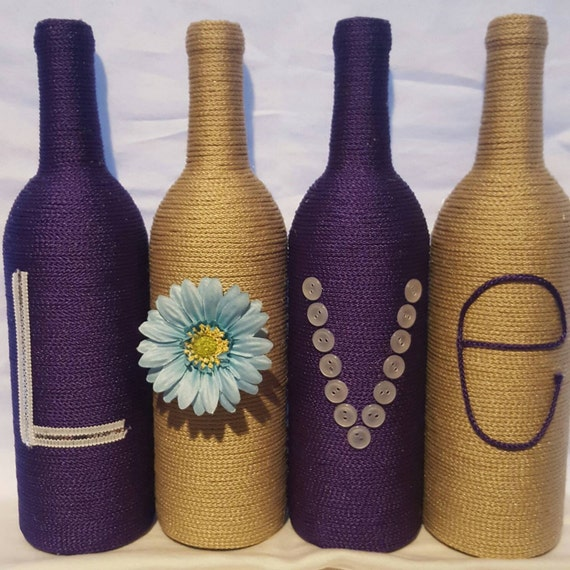 Decorated wine bottles set of 4 39 love 39 handmade for Wine bottle decorations handmade