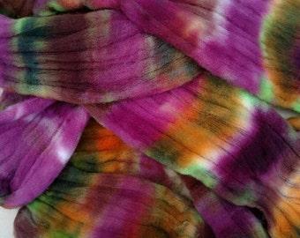 Superwash wool roving, hand dyed fiber, spinning fiber, Muscadine