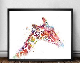 Giraffe Art, Giraffe Print, Giraffe Watercolor Animal Print, Kids Wall Decor, Home Decor, Wall Art Print, Giraffe Wall Hanging
