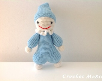 Light Blue Crochet Cuddly Doll with Pointed Hat