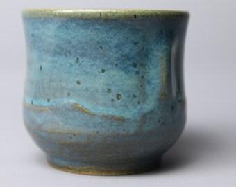 Hand thrown blue ceramic cup
