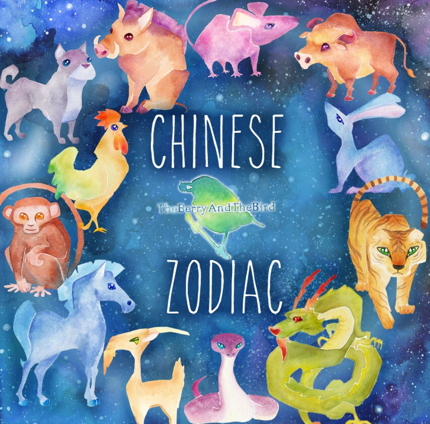 Chinese Zodiac Watercolor Handmade Star Signs Cliparts