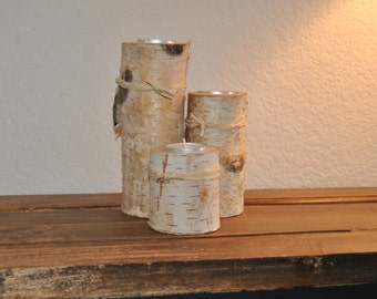 White birch tea light holders - set of 3 wood candle holders