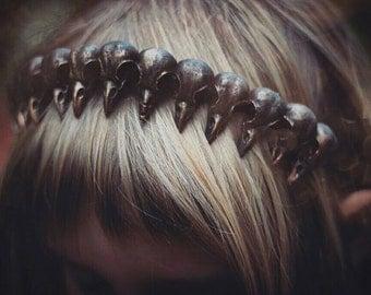 Ravenskull Headdress - Gothic - Fantasy - Headpiece - Steampunk - Curiosities - Larp