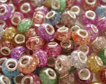 100 beads European style pandora multicolor