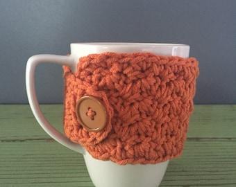 Orange Crochet Mug Cozy, Orange Mug Cozy, Orange Mug Sweater, Mug Sweater, Mug Cozy