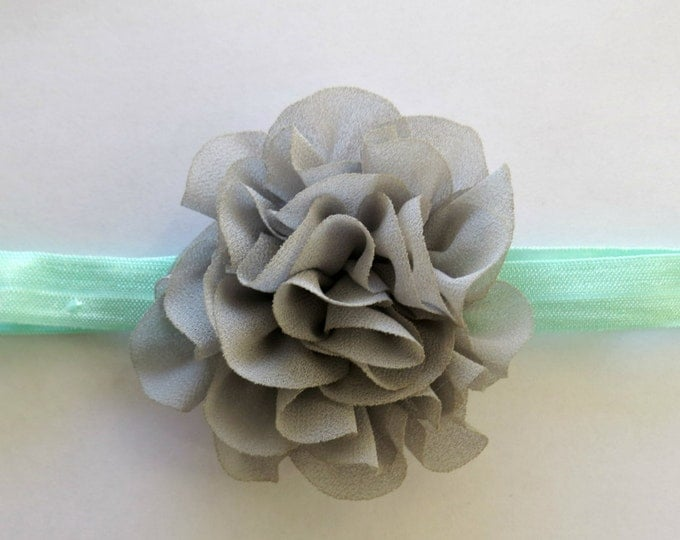 Gray and Mint Floral Headband, Baby Girl Headband, Baby Shower Gift, Hair Bows, Gifts For Girls, Floral Headband