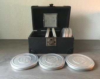 Vintage Film Reel Cannister Case tool box Industrial design