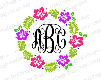 Flower Monogram from svg / monogram silhouette / Monogram svg / flower svg / circle svg / frame svg / lily svg / leaves svg / flower dxf