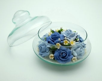 Soap flowers in glass bowl